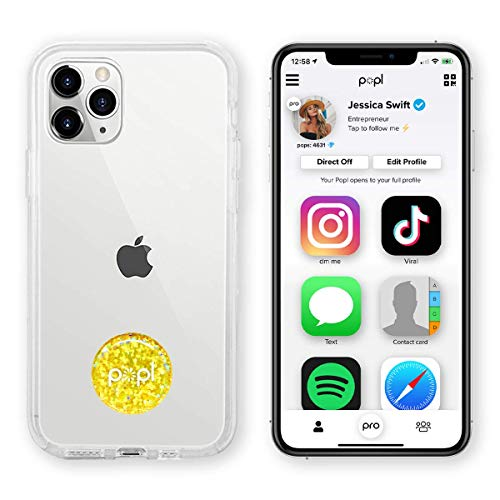 Popl (Gold) Digital Business Card and Phone Accessory - NFC Tag That Instantly Shares Social Media, Contact Info, Music, Payment Platforms and More - Compatible with iOS and Android