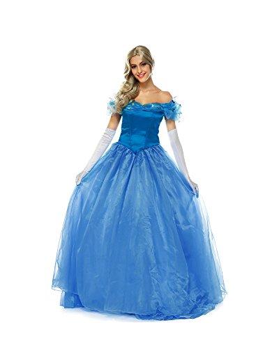 MAKE CHEERFUL シンデレラ コスプレ 衣装 ドレス 大人 プリンセス コスプレ 仮装 大きいサイズ 3点セット (XL)