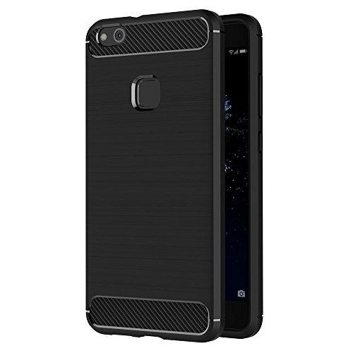 Hoesje voor Huawei P10 Lite (5,2 inch Scherm) Geborsteld Koolstofvezel TPU Schokbestendige Antislip Zachte Beschermende Case (Zwart)