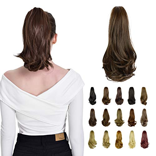 FESHFEN Voluminöses Haarteile Zopf Pferdeschwanz Extensions, 38,5cm glatt Haarverlängerung hitzebeständig, haarteil pferdeschwanz, wie Echthaar Pflegeleicht lang Gewellt Haarextensions diverse Farben.