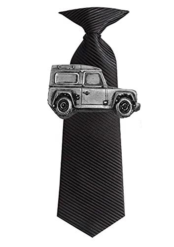 Land Rover Defender Ref115Effet étain Emblème sur une pince à cravate 4cm fait à la main en Sheffield Livré avec Prideindetails Boîte cadeau