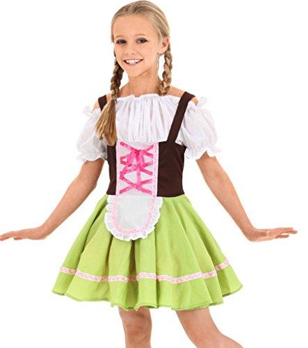 Bigood Costumes Déguisement Cosplay Nationnal Rétro Maid Enfant pour Halloween M
