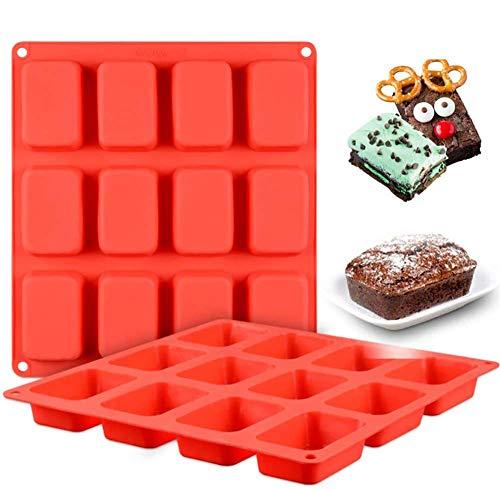 Brownie Molde para hornear – WENTS Bandeja de silicona para hornear moldes cuadrados y bandejas con 2 x 12 rejillas antiadherentes para brownie, cheesecake, mini pastel y barra de chocolate