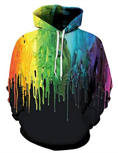 ALISISTER Herren 3D Pullover Hoodie Bunte Graffiti gedruckt lässig Kapuzenpulli Sweatshirts mit Großen Tasche L