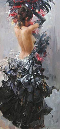 VNKLIN Hecho A Mano Resumen Arte De La Pared Decoración Caligrafía Retrato Desnudo Bailarina De Flamenco Española En Vestido Negro Pintura Al Óleo sobre Lienzo60X120Cm