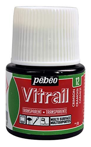 PEBEO Vitrail Vidriera (Cristal, Efecto Pintura para Telas claras (45ml), Color Rojo, Color Rojo