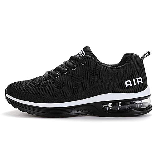 QAUPPEWomensFashionLightweightAirSports Walking SneakersBreathableGymJoggingRunningTennisShoes (Black US 8 B(M)