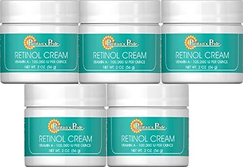 5 Crema Retinol Vitamina A 100.000 UI por onza 2 oz, antiarrugas … PURITAN'S PRIDE