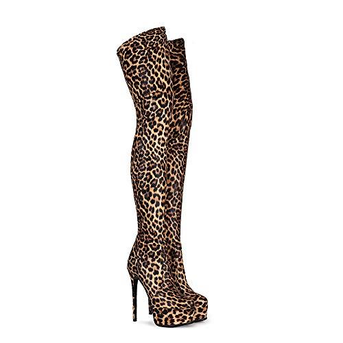 DEAR-JY Damen Stiefel Overknees,15CM Leopard Sexy Super High Heels Nachtclub Oberschenkel High Boots,Herbst Winter High Boots,Slim Knight Stiefel High Heels Stiefel Pole Dance Stiefel,38 EU