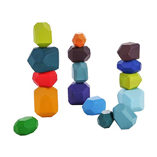 Laojbaba Colorful Wooden Stone Balancing Blocks - Wood Stone Building Blocks Lightweight Natural Rainbow Balancing Blocks Wooden Stones Stacking Game Rock Blocks Kids Educational Puzzle Toy(16 PCS)