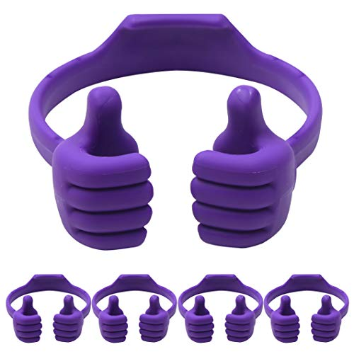 Cell Phone Tablet Stands (Pack of 5): Honsky Thumbs-up Cellphone Holder, Tablet Display Stand, Mobile Smartphone Mount Cradle for Desk Desktop - Universal, Multi-Angle, Cute, Purple