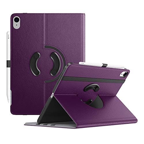 TiMOVO Case for New iPad Air 4th Generation, iPad Air 4 Case (10.9-inch, 2020), 90 Degree Rotating Stand Leather Cover, [Support Apple Pencil Charging] Smart Swivel Case & Auto Sleep/Wake - Purple