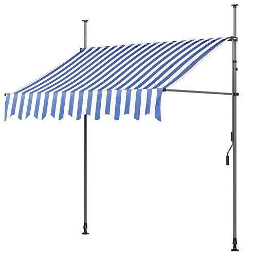 MVPower Klemmmarkise Balkonmarkise Sonnenschutz mit Handkurbel, UV-beständig höhenverstellbar, aus Metall und Polyester, ohne Bohren, 250 x 120cm, Blau&Weiß