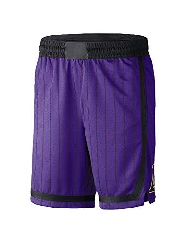 Kfdfns Hombres NBA Los Angeles Lakers Pantalones Corto de Baloncesto Alta Elasticidad Deportivo Pantalones