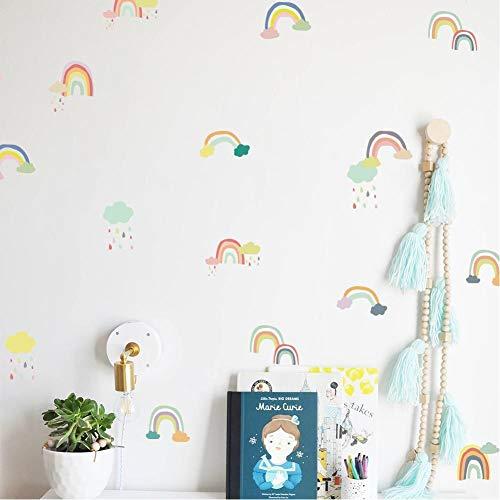 DHXXIAA - Pegatinas de pared con diseño de arcoíris para habitación de niños, regalo de cumpleaños de niñas, pegatinas de dibujos animados para guardería y aula