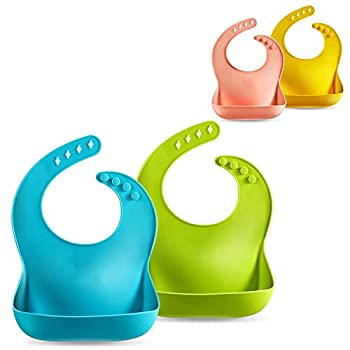 PandaEar Set of 2 Cute Silicone Baby Bibs for Babies & Toddlers  10-72 Months  Waterproof Soft Unisex Non Messy - Turquoise/Lime Green
