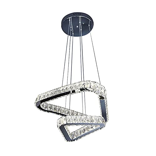 48W Lámpara colgante LED Sala De Estar Modernas Regulable, Luces Colgante Cristal Triángulo Creativo, Colgante de luz Metal Altura Ajustable,Con mando a distancia,Cromo,L50CM