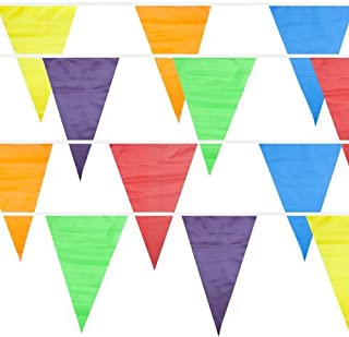 100 Foot Pennant Banner, 48 Multicolor Weatherproof Flags - Fun, Versatile Party Decor for Kid`s Parties, Carnivals, Indoor and Outdoor Events