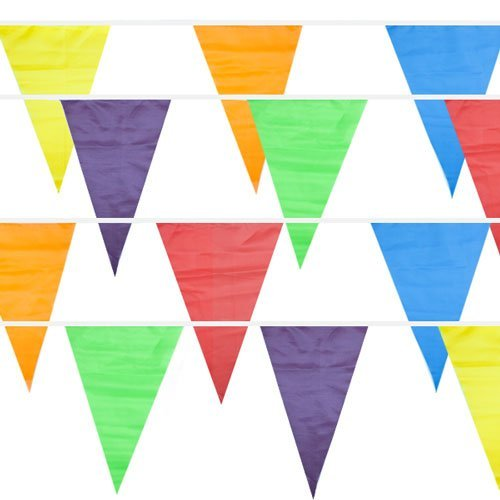 100 Foot Pennant Banner, 48 Multicolor Weatherproof Flags - Fun, Versatile Party Decor for Kid's Parties, Carnivals, Indoor and Outdoor Events