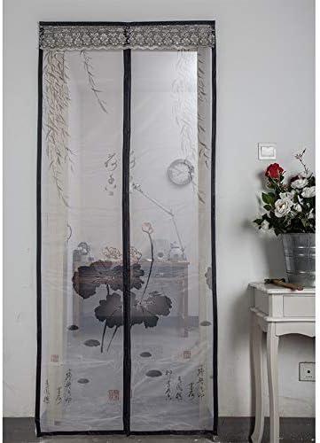 La familia de verano práctica puerta magnética de mosquitera con gasa cierra automáticamente la ventana cierra automáticamente la cortina mosquitera suave A3 W 120 x H 210 cm
