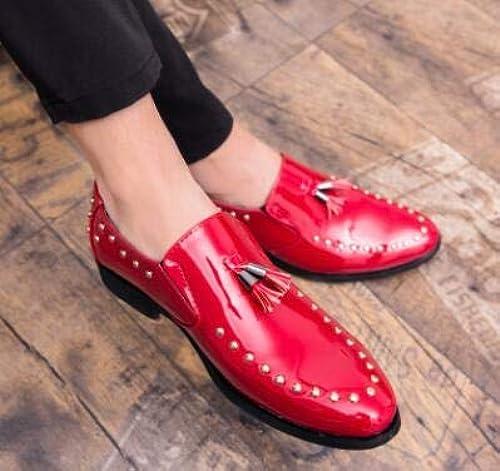 LOVDRAM Chaussures en Cuir pour Hommes Rivets Hommes Robe chaussures Autumn mode Patent chaussures for Hommes Décontracté Hommes chaussures Pour des hommes Flats Hommes mariage chaussures