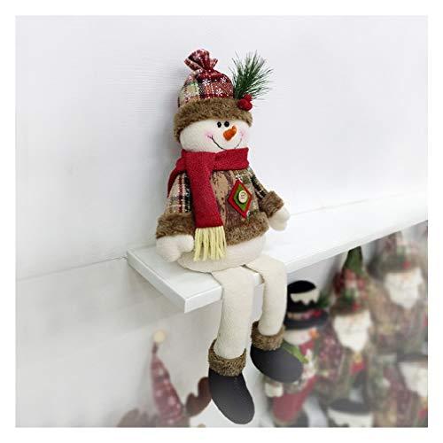 Christmas Sitting Santa Claus Snowman Elk Dolls Ornament Xmas Sitting Plush Doll Ornament Wall Hang Window Display Christmas Holiday Decor (B)