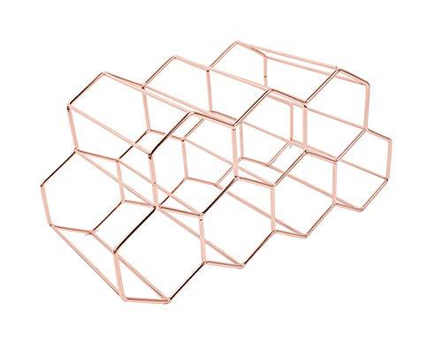 Étagère à vin autonome, support de table pour bouteilles de vin, support de comptoir – Design géométrique pour cave à vin, bar étagère (rose)