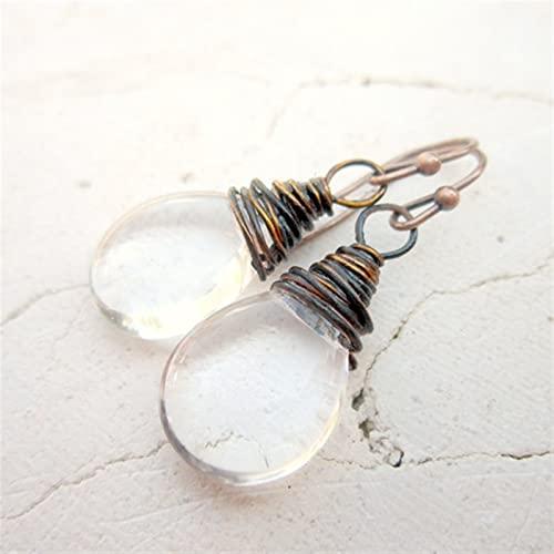 ABCBCA 1 par de Vidrio Transparente Pendientes Colgantes oxidados de Cobre Envuelto Gota de Vidrio Pendientes (Metal Color : Antique Bronze Plated)