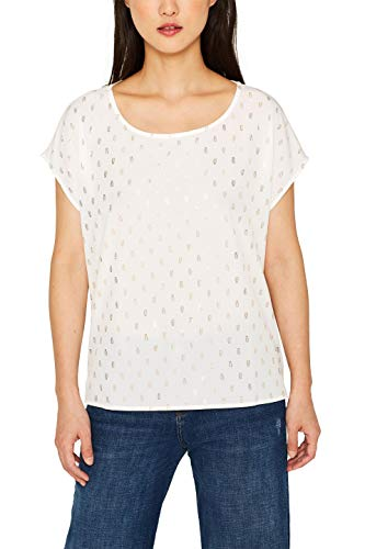 ESPRIT Collection 079eo1k006 Camiseta sin Mangas, Blanco (Off White 110), Small para Mujer