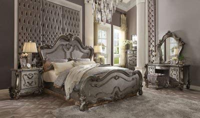 Buy Discount Esofastore Antique Platinum Finish Bedroom Furniture Set California King Size Bed 4pc Set