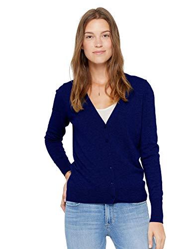 State Cashmere Damen Strickjacke 100% reines Kaschmir Knopfleiste Langarm Pullover mit V-Ausschnitt (M, Marine)
