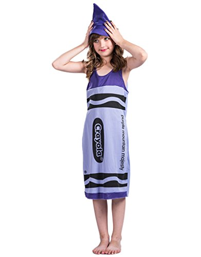 Halloween Kids Purple Crayon Costume - Girls Cosplay Dress Xmas Child Costume, L