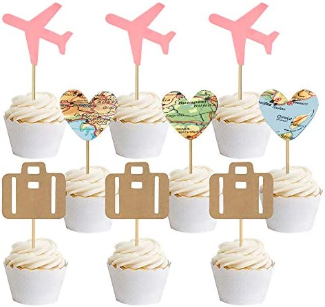 30 PCS Travel Cupcake Toppers Pink Airplane Map Heart Traveling Case Cake Topper Picks for World product image