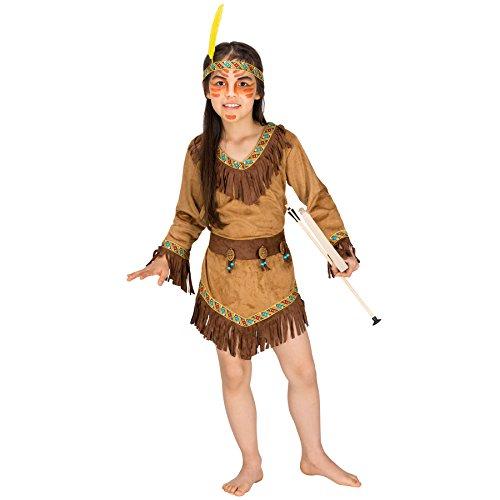 TecTake dressforfun Costume da Indiana Shania Bambina | Meraviglioso Vestito da Indiana | incl. Incantevole Cintura e Fascia alla Moda per Capelli (12-14 Anni | No. 300528)