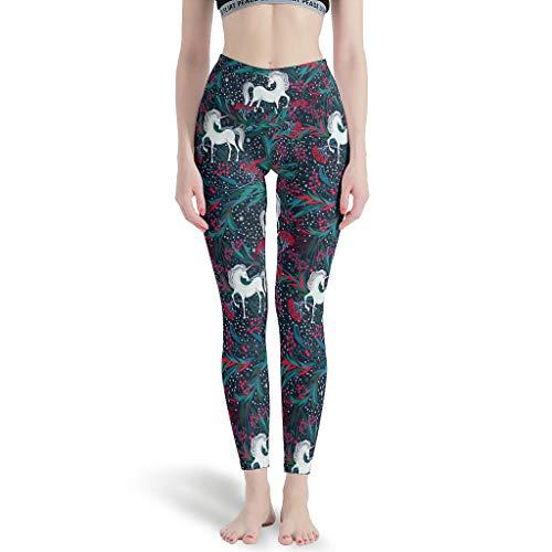 Ballbollbll Unicornio Copos de Nieve Mujer Pantalones de Yoga Cintura Alta Y Control de Barriga A Todo Color Impreso Para Deportes Running Leggings, Diario Ocio Blanco M