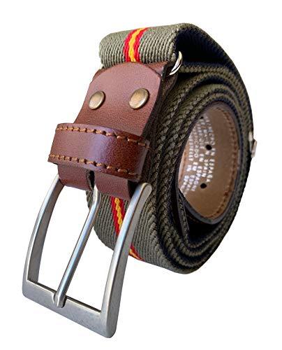 LEGADO Cinturon hombre y pulsera bandera España, cinturon elastico con cuero marron, piel de Ubrique como nuestras carteras y accesorios. (Verde caza con Bandera España)