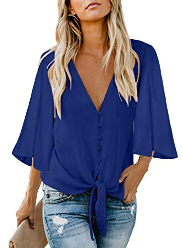 FIYOTE Damen Hemd Lose Langarmshirt Knopf Top Tunika Oberteile Hemd, 2-blau, M