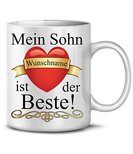 Golebros Mein Sohn Wunschname ist der Beste 6296 Fun Tasse Becher Kaffeetasse Kaffeebecher Spruch Geburtstag Geschenk Geburt personalisiert personaliersierbar