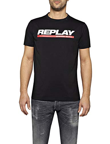 REPLAY M3847 .000.2660 Camiseta, Negro (Black 98), XX-Large para Hombre