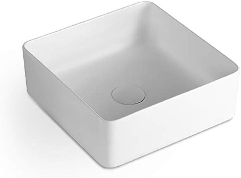 Weiwei wash basin Nordic Simple Retro style Above counter basin Square art wash basin ceramics public Basin Household (color   A)