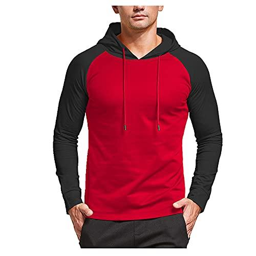 Otoño invierno camiseta hombres camiseta manga larga con capucha camiseta roja