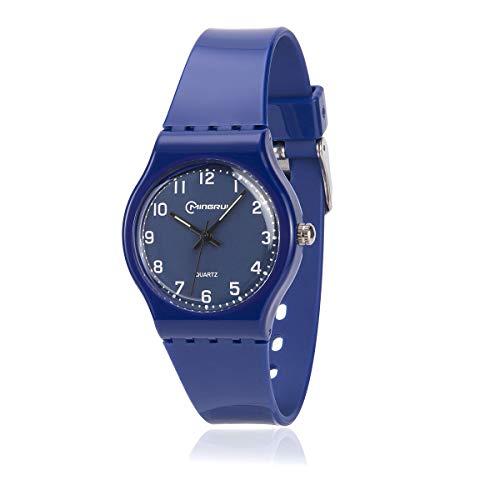 Kinderuhr Analog Jungen Mädchen Analog Quarz Uhr mit Armbanduhr Wasserdicht Sports Uhren Armbanduhr Jungen Mädchen Uhren Kleinkinder Tolle Mädchen Lernuhr 5-10 Jahre alt (Dark Blue-1)