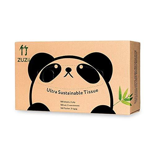 Zuzii 100 Blatt 3-lagige Bambus Papiertaschentücher-Boxen,100% Bambus Kosmetiktücher, Facial Tissue,hautfreundlich,umweltfreundlich | 12er Pack