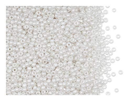 20 g Rocailles 11/0, Pastell Weiß Perlmutt, Tschechisches Glas