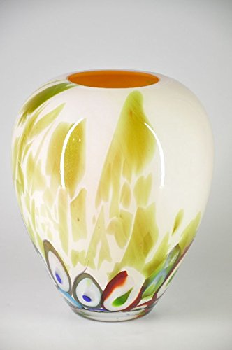 Scherzer 1880 Crystal, Glas, Vase, cremefarben mit Murinnnen, Design, Handarbeit