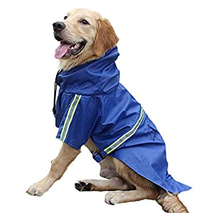Esing Dog Raincoat with Hood Outdoor Waterproof Poncho Windproof Jacket with Reflective Strip Rain Coat for Small Medium Large Dogs