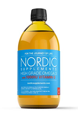 Nordic Supplements High Strength 500ml Omega 3 Fish Oil with 1000iu Vitamin D3 in Natural Cholecalciferol Form. Taste Award Winning Lemon Flavoured and Tested