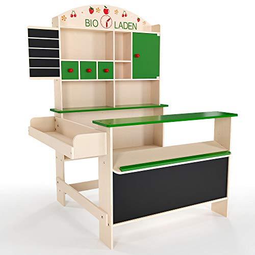 Froggy Kaufmannsladen für Kinder aus Holz   Bioladen mit vielen Fächern und Ablagen   Integrierte Kreidetafeln   Kaufladen, Verkaufsstand   Natürliches Design, Grüne Details