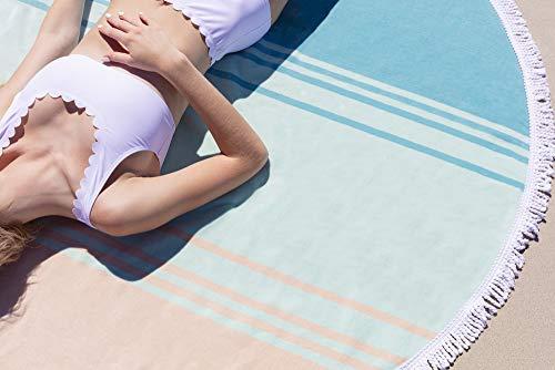 Luxury Thick Round Cabana Beach Towel by Laguna Beach Textile Co   Sea Glass Sunrise   5 Foot Diameter   Woven Jacquard for Soft, Fade Proof Beach & Pool Use