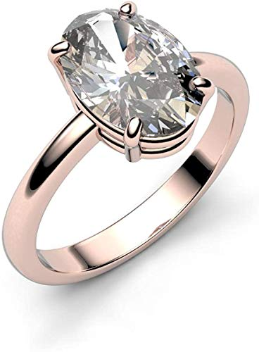 14K Gold 1.00 Carat Solitaire Oval Cut Natural Diamond Engagement Ring Band Wedding Ring Certified Hallmarked Anniversary Ring for Women Gift for Her (Color HI, Clarity I1/I2) (Rose Gold)